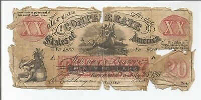 1861 $20 Richmond Confederate Currency