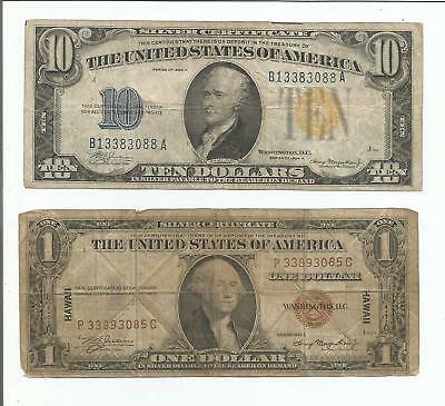 1934 $10 North Africa - 1935 $1 Hawaii Wwii Silver Certificates