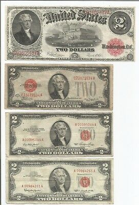 1917 Large $2 - 1928 - 1953 - 1963 $2 United States Notes