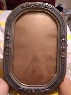 Vintage Convex Bubble Glass Oval Wood Picture Frame with glass