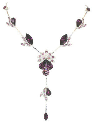 Necklace Earrings Set Amethyst Color Purple Crystal Bridesmaid Wedding Party