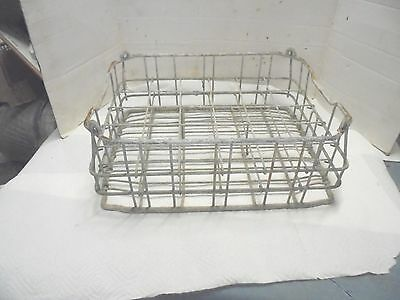 galvanized metal wire milk carrier held 24 one pint bottles plant stand riser #2
