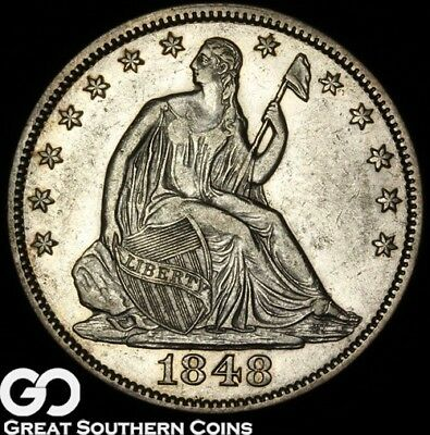 1848 Seated Liberty Half Dollar, Choice AU Better Date, Scarce! ** Free Shipping