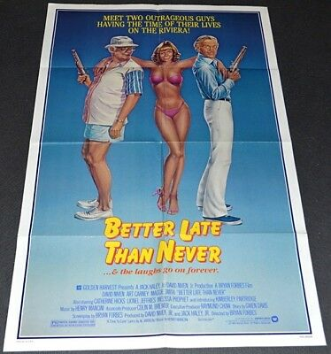 BETTER LATE THAN NEVER 1983 ORIG. 27x41 MOVIE POSTER! SEXY CATHERINE HICKS ART!