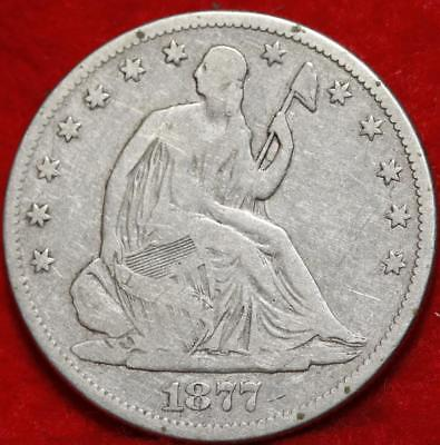 1877 Philadelphia Mint Silver Seated Liberty Half Dollar Free S/H