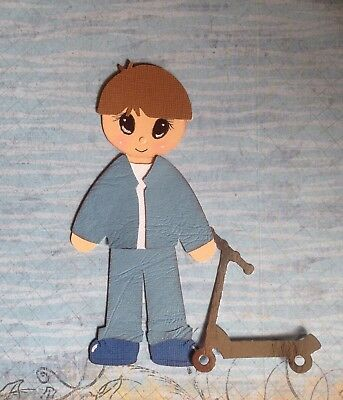 Handcrafted Little Boy With Scooter Paper Piecing - Acid Free - Scrapbooking