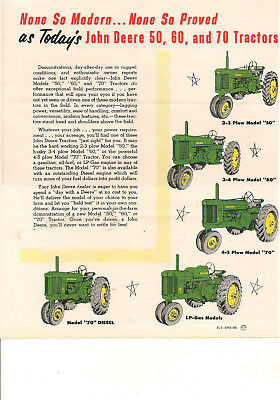 John Deere 50, 60 and 70 Tractors Small Brochure