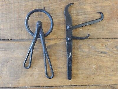 2 Antique Iron Mystery Tools ~ Vintage Wheelwright Carpentry Wood Tools ?