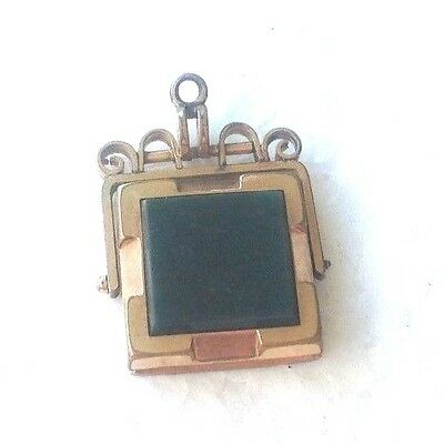 Antique Victorian Gold Filled Watch Fob With Photo Window With Green Stone L@@K