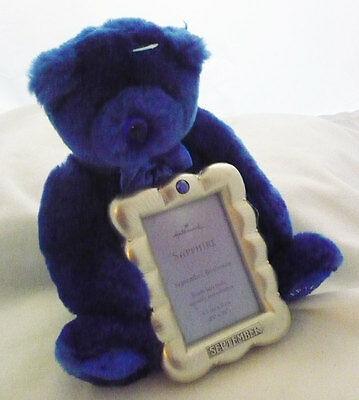 Hallmark Plush Sept blue Birthstone Bear with 2.5 x 3.5 picture frame Baby  Gift
