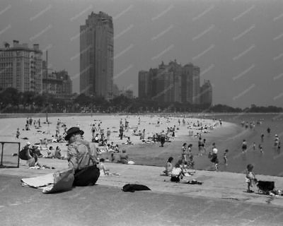 Chicago Gold Coast Beach Scene 1940s  8x10 Reprint Of Old Photo