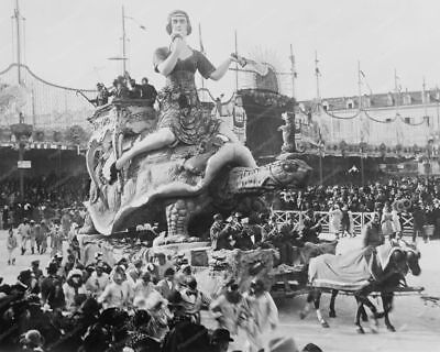 Carnival Women Riding Turtle In Parade 8x10 Reprint Of Old Photo