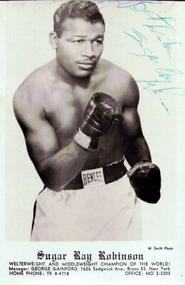 "Sugar Ray Robinson Autographed Signed 3.5x5.5 Postcard ""Best Wishes"" JSA"