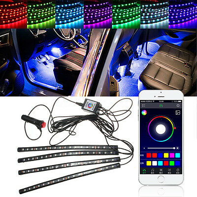 universal rgb car interior led neon strip light kit sound active phone control b cad. Black Bedroom Furniture Sets. Home Design Ideas