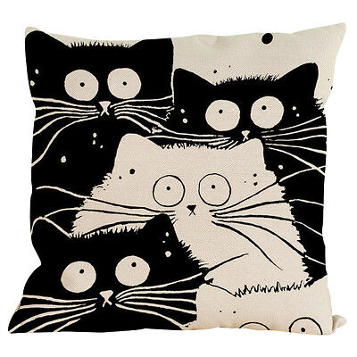 Vintage Cat Dog Cotton Pillow Case Sofa Waist Throw Cushion Cover Home Decor G