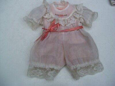 Alte Puppenkleidung Lacy White Jumper Body Outfit vintage Doll clothes 50cm Girl