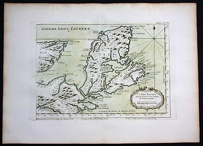 1764 - Nova Scotia Canada Bellin handcolored antique map
