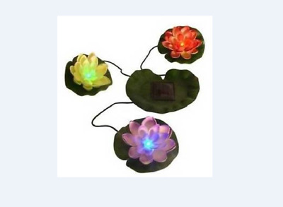 3 Light Up Floating Flowers On A Lily Pad Solar Power Display For Garden Pond