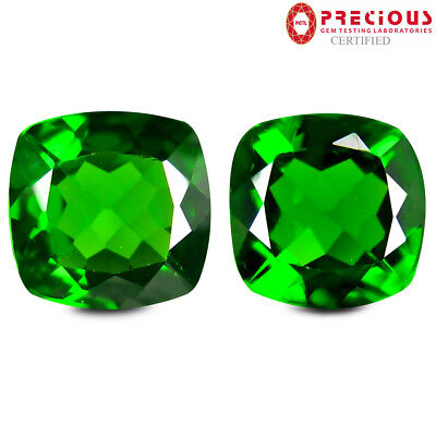2.00 ct (2pcs) PGTL Certified  MATCHING PAIR  Cut (6 x 6 mm) Chrome Diopside