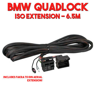 BMW ISO Wiring Quadlock Connector Power, Speaker & Aerial 6.5m Extension Cable f