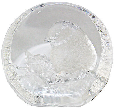 Mats Jonasson Lead Crystal Blue Tit Paperweight 9204 Signed