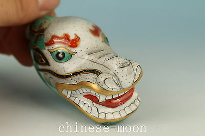 Chinese Old Porcelain Hand Painting Dragon Statue Snuff Bottle