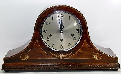 Art Nuveau Mahogany Inlaid Westminster chime Mantel clock Napoleon Hat style GWO