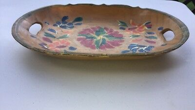 Vintage Wood Tray Carved Hand Painted Woodenware Folk Art