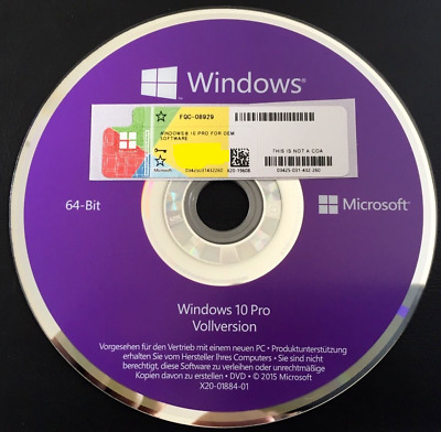 Windows 10 Professional COA Lizenzkey & Installation DVD 64 Bit Deutsche, OEM