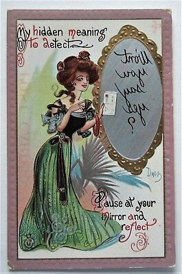 """A/S DWIG Mirror LADY """"Hidden Meaning""""  Embossed Postcard"""