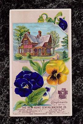 Victorian Country House on a River Pansies New Home Sewing Machine Trade Card