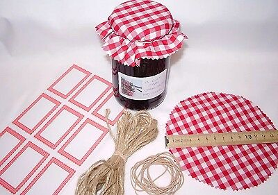 Gingham JAM covers X 12 RED includes sticky jar labels  bands & TWINE x12