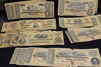 Confederate Currency $1-$5-$10-$20-$50-$100 Huge Lot 68 Bills Total 1,5,10,12,15
