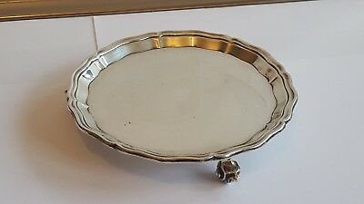 A Stylish Solid silver Salver/Tray Sheffield 1934 175 grams  15.2cm wide VGC