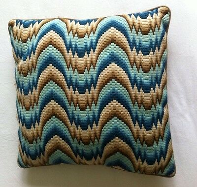 original  VINTAGE  Retro Completed Wave  CUSHION COVER Tapestry Needlepoint