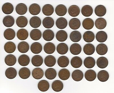 1909 Indian Head Cents  50 coins (1 roll)  G-F