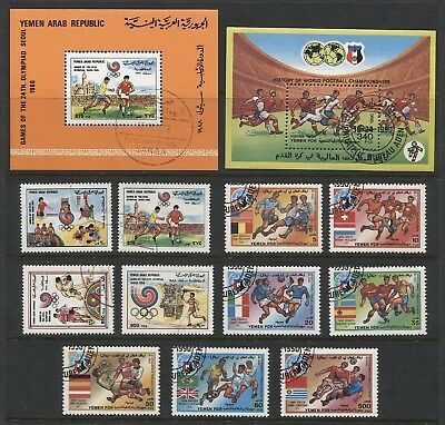 R594 - YEMEN 1988-90 FOOTBALL SOCCER Olympics World Cup sets and s/s