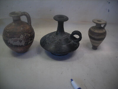3 antique greek or roman  oil pots