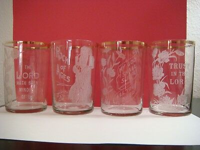 4 antique 19th century religious themed thin walled drinking glasses tumbler