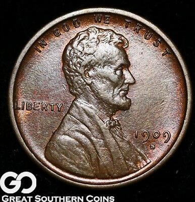1909-S VDB Lincoln Cent Wheat Penny, Red-Brown, Near Gem BU++ Key Date!
