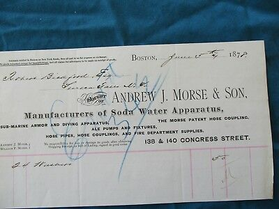 1878 Sub-Marine Armor & Diving Helmet Apparatus Maker/Andrew Morse,Boston letter