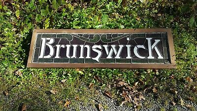 Antique Brunswick Pool Table Hall Advertising Stain Glass Sign