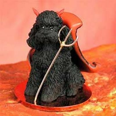 Poodle Black Sport Cut Devil Dog Tiny One Figurine Statue
