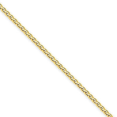 1.8mm, 14k Yellow Gold, Flat Wheat Chain Necklace, 16 Inch