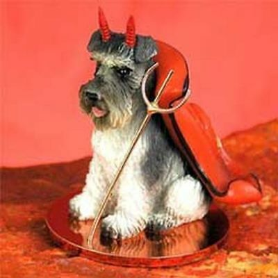 Schnauzer Gray Uncropped Ears Devil Dog Tiny One Figurine Statue
