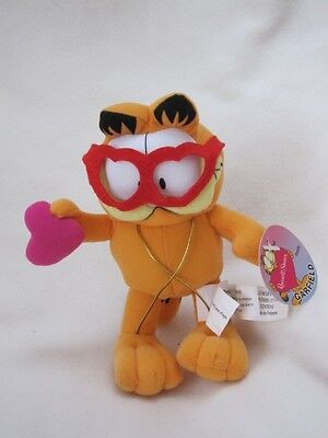 """Garfield 7"""" Soft Toy New With Tag Has Gift Holder Straps & Loveheart Glasses"""