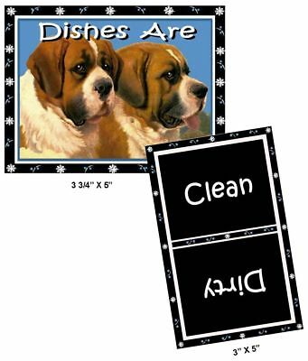 DOG DISHWASHER MAGNET (Saint Bernards) - Clean/Dirty *Ship FREE