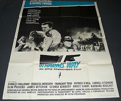 IN HARM'S WAY 1965 ORIG. 41x53 3 SHEET MOVIE POSTER! SAUL BASS ART! JOHN WAYNE!