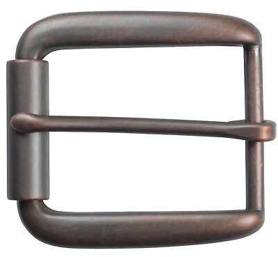 "Elongated Roller Belt Buckle for 1 1/2"" Belts - Antique Copper Finish"