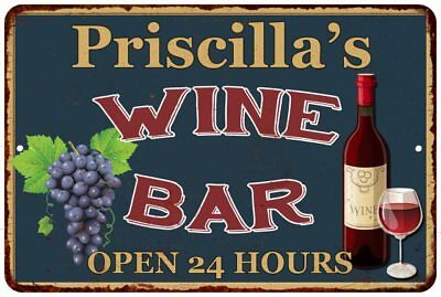 Priscilla's Green Wine Bar Open 24hrs Chic Rustic Sign Home Décor Gift 81204092